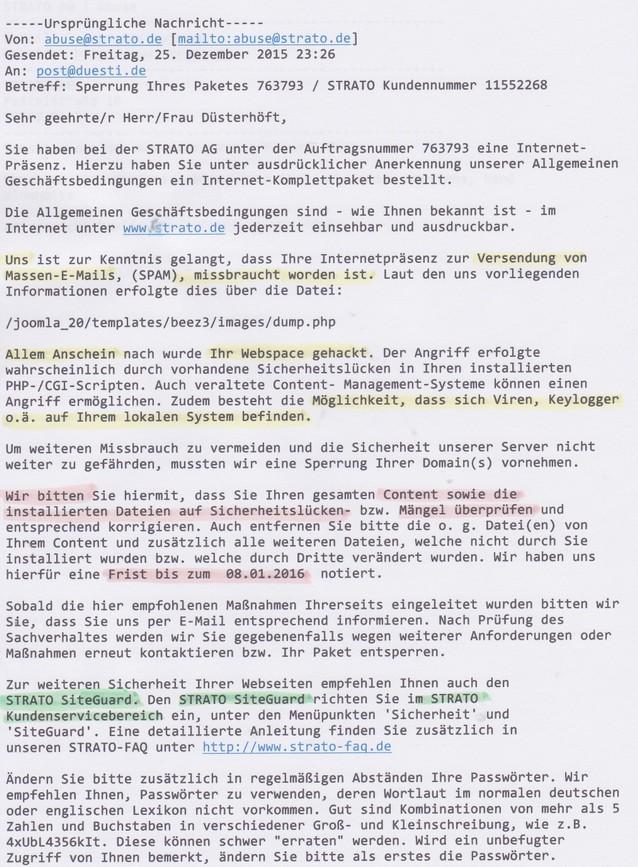 Strato Domain ändern strato sperrt websites düsti s homepage